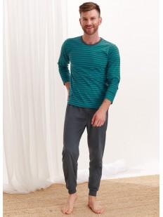 Хлопковая мужская пижама с цветным лонгсливом в полоску
