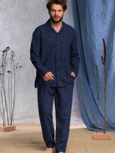 Синяя мужская фланелевая пижама из хлопка со штанами и рубашкой в клетку