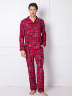Хлопковая мужская пижама: рубашка и брюки в клетку
