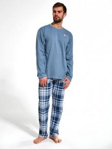 Голубая хлопковая мужская пижама с брюками в клетку и кофтой