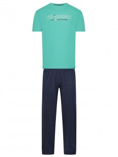 Хлопковая мужская пижама со штанами и мятной футболкой