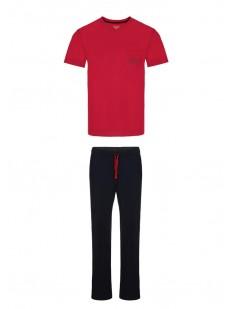 Хлопковая мужская пижама со штанами и красной футболкой
