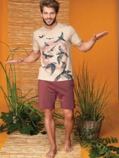 Хлопковый мужской пижамный комплект на лето с шортами и футболкой