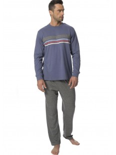 Теплая трикотажная мужская пижама с брюками