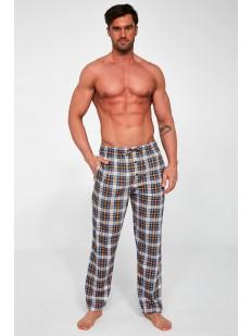 Клетчатые домашние мужские брюки из хлопка с боковыми карманами