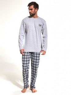Мужская пижама из хлопка с кофтой и брюками в клетку