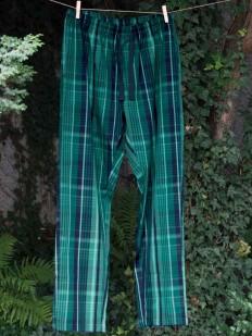 Домашние хлопковые мужские брюки зеленые в клетку
