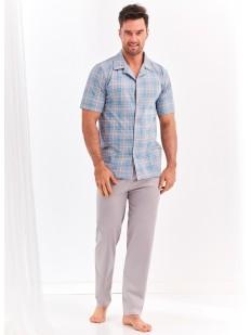 Мужской пижамный комплект с брюками и рубашкой в клетку