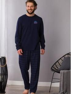 Мужской хлопковый пижамный комплект со штанами из фланели