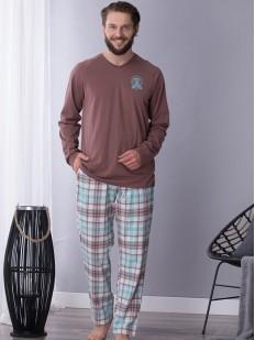 Хлопковая мужская пижама с фланелевыми брюками и кофтой в оттенке какао