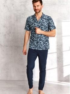 Мужской пижамный комплект с рубашкой на пуговицах и брюками из хлопка
