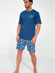 Синяя хлопковая мужская пижама с принтованными шортами в морском стиле