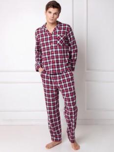 Хлопковая фланелевая красная мужская пижама со штанами и рубашкой в клетку
