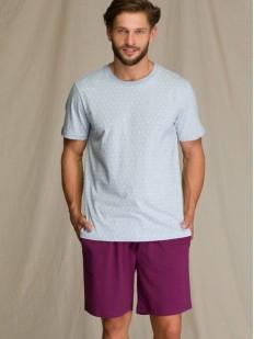 Мужская летняя пижама с фиолетовыми шортами и принтом якорей на футболке