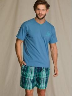 Летняя мужская пижама с зелеными шортами в клетку и голубой футболкой