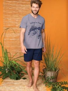 Мужская пижама из 100% хлопка с шортами