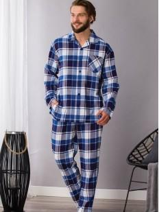 Хлопковая мужская пижама из фланели в синюю клетку
