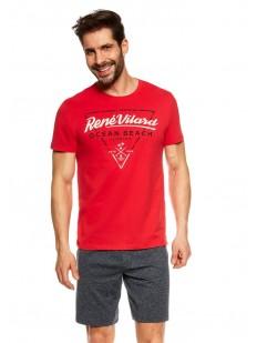 Летняя мужская пижама с шортами и красной футболкой