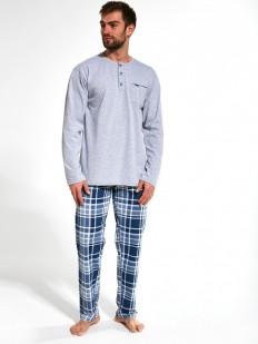 Хлопковая мужская пижама с брюками в клетку и однотонной кофтой