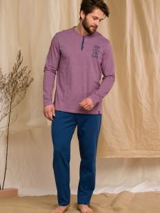 Мужская хлопковая брючная пижама с лиловой кофтой