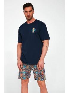 Мужская пижама из хлопка: футболка и шорты с этническим принтом