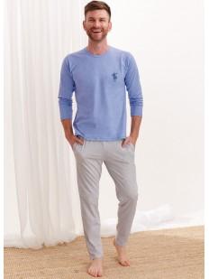 Мужская хлопковая пижама с однотонными брюками и кофтой с длинным рукавом