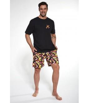Хлопковая мужская пижама: футболка и шорты со смайликами