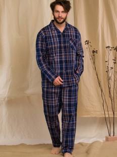 Мужская синяя фланелевая пижама из хлопка со штанами и рубашкой в клетку