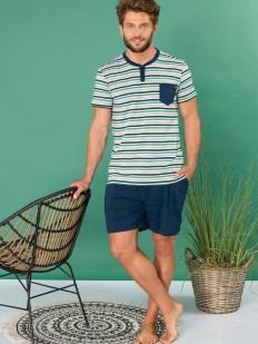 Летняя мужская пижама из хлопка с шортами и футболкой в полоску