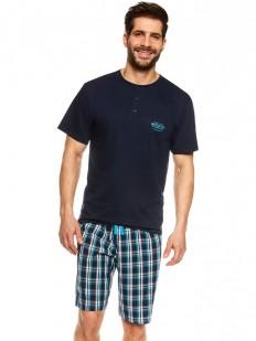 Летняя синяя мужская пижама хб с шортами в клетку