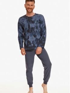 Мужская брючная пижама из хлопка с принтованной кофтой