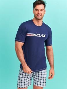 Мужская хлопковая летняя пижама с клетчатыми шортами