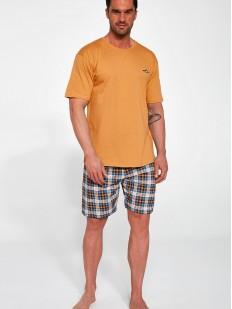 Мужская хлопковая пижама с шортами и оранжевой футболкой