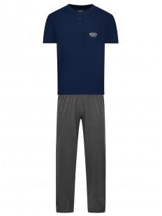 Хлопковая мужская пижама со штанами и синей футболкой