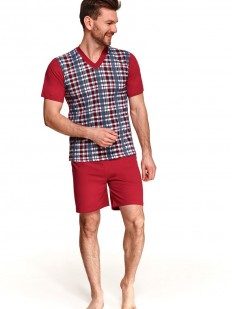 Летняя мужская хлопковая пижама с однотонными шортами и клетчатой футболкой