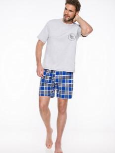 Хлопковая летняя мужская пижама с шортами в клетку
