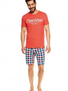 Летняя мужская пижама из хлопка: клетчатые шорты и принтованная футболка