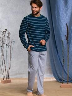 Мужская хлопковая пижама с кофтой в полоску и серыми брюками