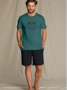 Летняя мужская пижама с шортами из бамбука и зеленой футболкой
