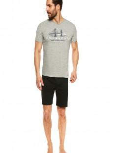 Летняя мужская пижама из хлопка: однотонные шорты и принтованная футболка