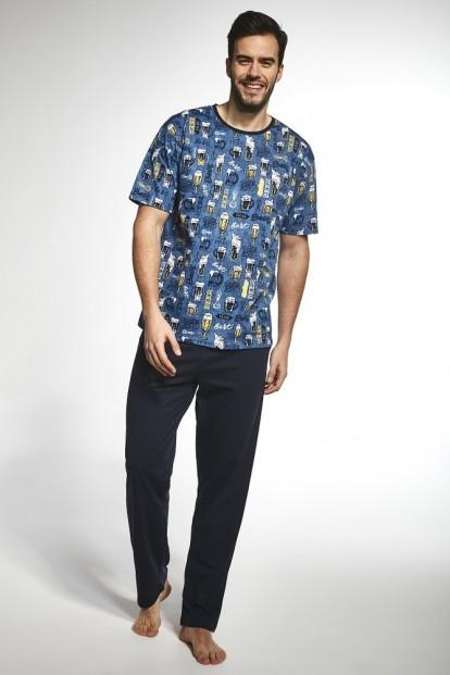 Мужской пижамный хлопковый комплект со штанами и футболкой с принтом пивной тематики Cornette 194-2 - фото 1