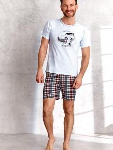 Хлопковая мужская пижама с клетчатыми шортами и футболкой с автомобильным принтом