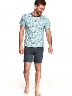 Хлопковая летняя мужская пижама с принтованной футболкой и шортами в комплекте