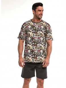 Летняя мужская пижама с шортами и красочным принтом