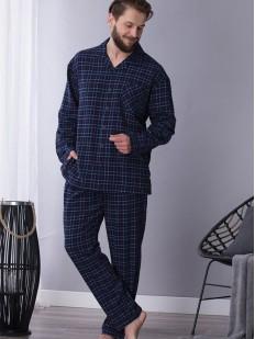 Хлопковая мужская пижама из фланели темно-синего цвета