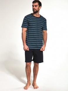 Летняя мужская пижама из хлопка с полосатой футболкой и однотонными шортами