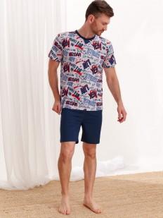 Хлопковая мужская пижама с однотонными шортами и принтом в двух вариантах