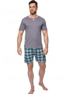 Летняя мужская пижама с шортами в клетку
