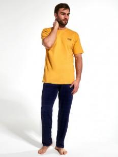 Мужская пижама с желтой футболкой и брюками в клетку из хлопка