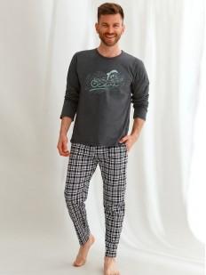 Хлопковая мужская пижама с брюками в клетку